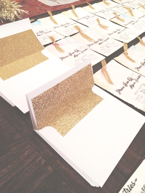 the gold glitzy envelope liners!
