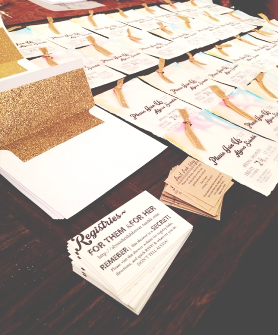 Vintage-inspired antique white and kraft paper inserts, directing guests to the event website and couple's registries